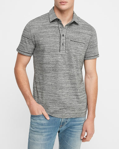 Piped Moisture-Wicking Performance Polo in Heather Gray