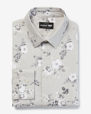 Extra Slim Floral Stretch Cotton 1Mx Dress Shirt in White