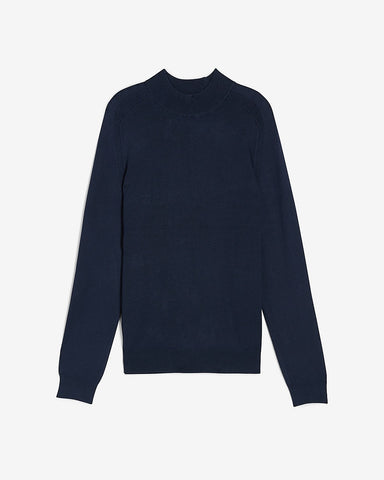Rayon Stretch Mini Mock Neck Sweater in Navy