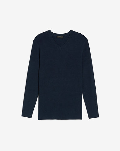 Marled Rayon Stretch V-Neck Sweater in Navy