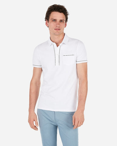 Piped Moisture-Wicking Performance Polo in Pure White