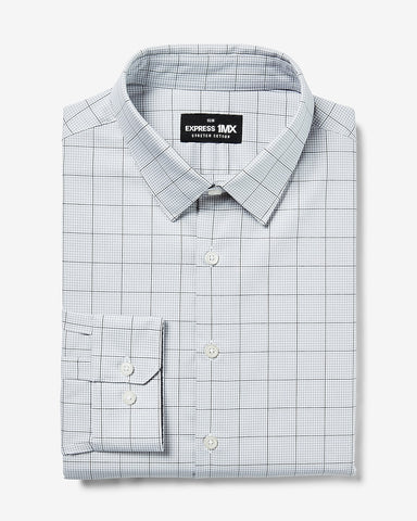 Slim Plaid Stretch Cotton 1Mx Dress Shirt in Jet Black