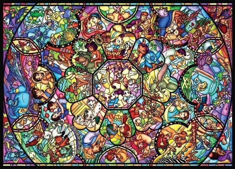 Disney All Star Stained Glass Puzzle Disney - 1000Pc Jigsaw - Tenyo