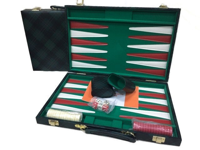 Backgammon: 18 Inch Green Checkered