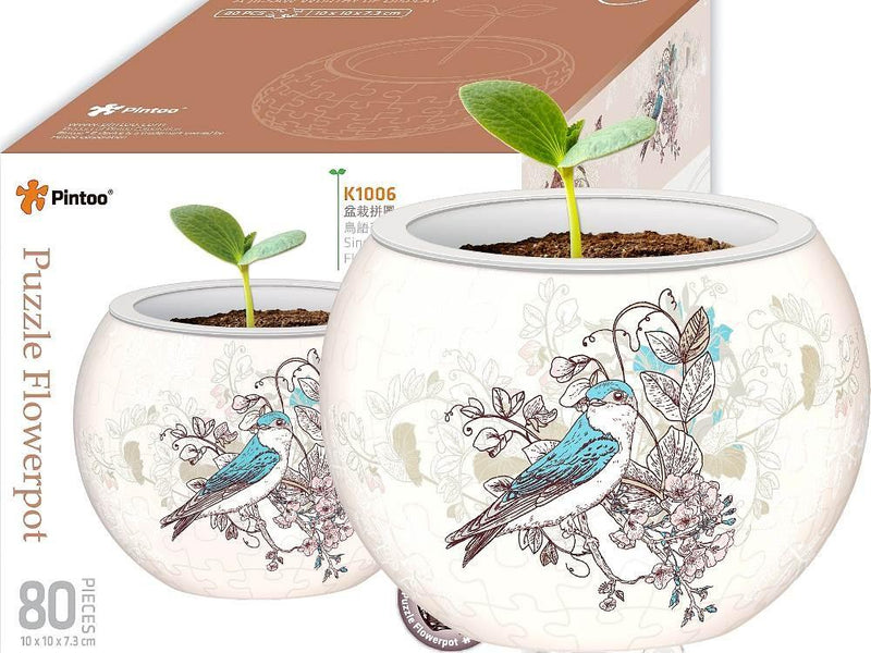 Flowerpot: Birds And Flowers 3d 80pc Jigsaw Pintoo