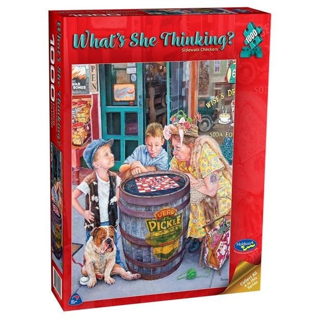Holdson What's She Thinking Checkers 1000 Piece Jigsaw
