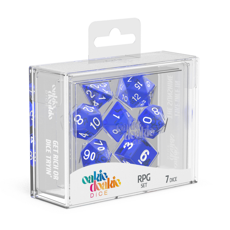 Oakie Doakie Dice Rpg Set Translucent Blue (7)