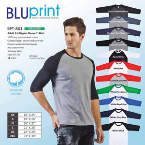 Adult 3/4 Sleeve Raglan T-Shirt (Minimum of 6 pcs)