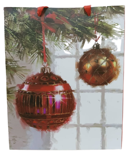 Christmas Paper Bag Ball Design (Pack of 12)