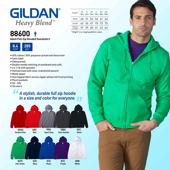 Adult Full Zip Hooded Sweatshirt (Minimum 6 pcs)