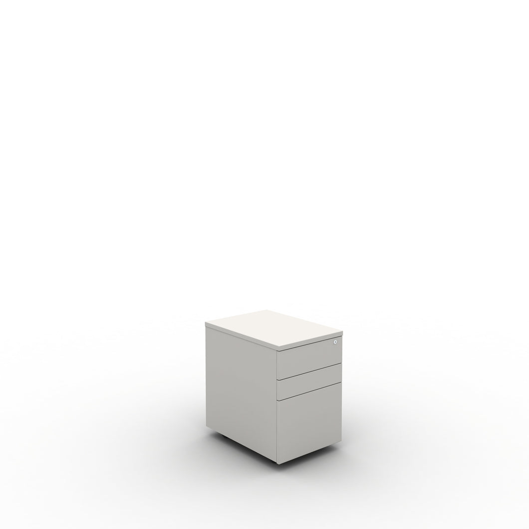 White under desk drawer pedestal, lockable and on casters