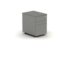 Load image into Gallery viewer, Grey  under desk drawer pedestal, lockable and on casters