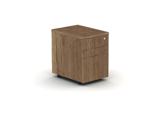 Tobacco oak under desk drawer pedestal, lockable and on casters