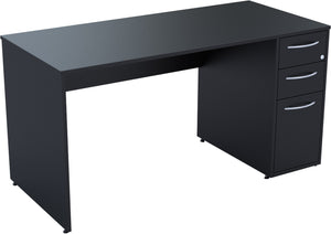 Desk with drawers black