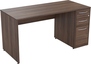 Desk with drawers natural walnut