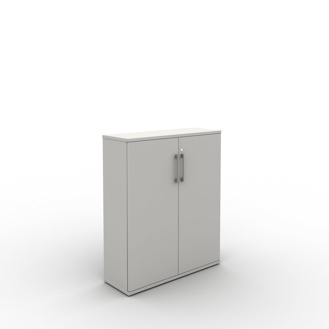 Bookcase with lockable doors 2 shelves in white finish
