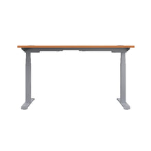 Load image into Gallery viewer, Beech Glide Height Adjustable Desk, Silver Frame, Back View
