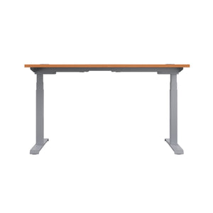 Beech Glide Height Adjustable Desk, Silver Frame, Back View