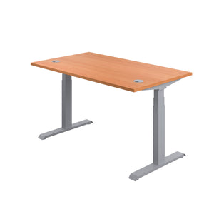 Beech Glide Height Adjustable Desk, Silver Frame, Back Angle View