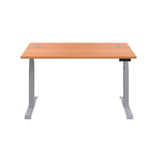 Load image into Gallery viewer, Beech Glide Height Adjustable Desk, Silver Frame, Front View