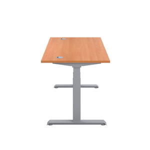 Beech Glide Height Adjustable Desk, Silver Frame, Side View