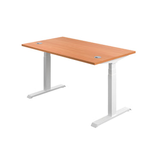 Beech Glide Height Adjustable Desk, White Frame, Back Angle View