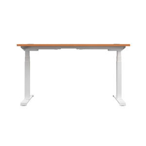 Beech Glide Height Adjustable Desk, White Frame, Back View