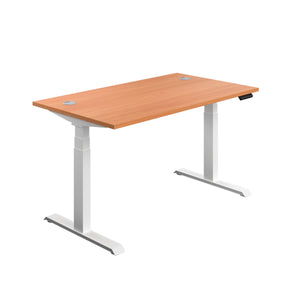 Beech Glide Height Adjustable Desk, White Frame, Front Angle View