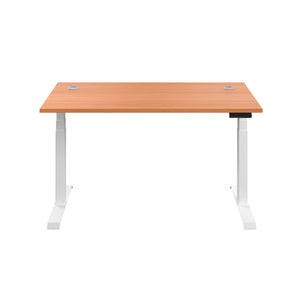 Beech Glide Height Adjustable Desk, White Frame, Front View