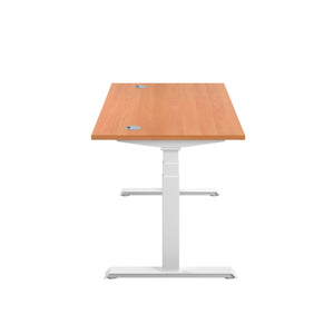 Beech Glide Height Adjustable Desk, White Frame, Side View