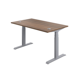 Dark Walnut Glide Height Adjustable Desk, Silver Frame, Back Angle View