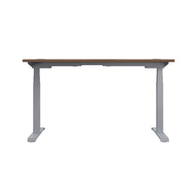 Load image into Gallery viewer, Dark Walnut Glide Height Adjustable Desk, Silver Frame, Back View