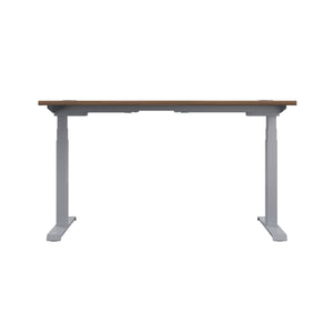 Dark Walnut Glide Height Adjustable Desk, Silver Frame, Back View