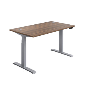 Dark Walnut Glide Height Adjustable Desk, Silver Frame, Front Angle View