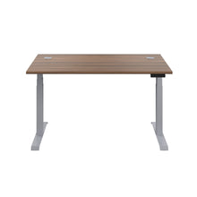 Load image into Gallery viewer, Dark Walnut Glide Height Adjustable Desk, Silver Frame, Front View