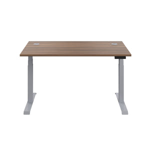 Dark Walnut Glide Height Adjustable Desk, Silver Frame, Front View