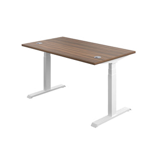 Dark Walnut Glide Height Adjustable Desk, White Frame, Back Angle View