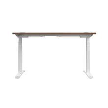 Load image into Gallery viewer, Dark Walnut Glide Height Adjustable Desk, White Frame, Back View