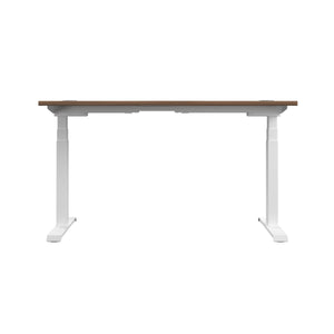 Dark Walnut Glide Height Adjustable Desk, White Frame, Back View