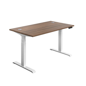 Dark Walnut Glide Height Adjustable Desk, White Frame, Front Angle View