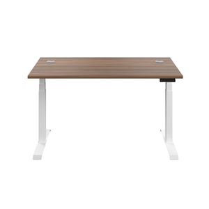 Dark Walnut Glide Height Adjustable Desk, White Frame, Front View