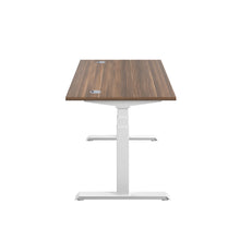 Load image into Gallery viewer, Dark Walnut Glide Height Adjustable Desk, White Frame, Side View