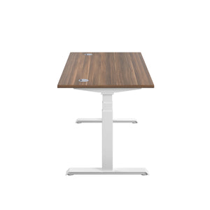 Dark Walnut Glide Height Adjustable Desk, White Frame, Side View