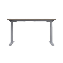 Load image into Gallery viewer, Grey Oak Glide Height Adjustable Desk, Silver Frame, Back View