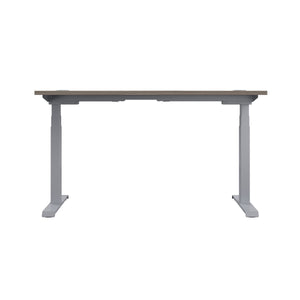 Grey Oak Glide Height Adjustable Desk, Silver Frame, Back View
