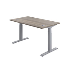 Load image into Gallery viewer, Grey Oak Glide Height Adjustable Desk, Silver Frame, Back Angle View