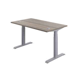 Grey Oak Glide Height Adjustable Desk, Silver Frame, Back Angle View