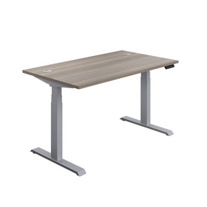 Grey Oak Glide Height Adjustable Desk, Silver Frame, Front Angle View