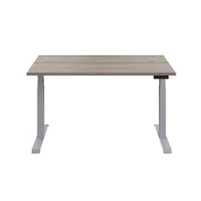 Load image into Gallery viewer, Grey Oak Glide Height Adjustable Desk, Silver Frame, Front View