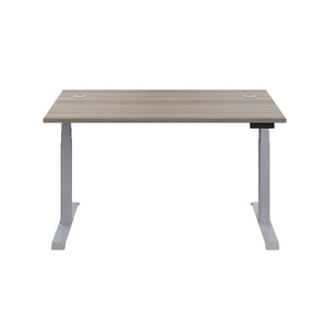 Grey Oak Glide Height Adjustable Desk, Silver Frame, Front View